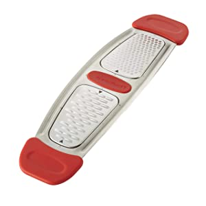 Rachael Ray Stainless Steel Multi-Grater with Silicone Handles, Red