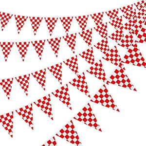 RUBFAC 170ft 120pcs Checkered Banner Red and White Polyester Pennant Banner Flags for BBQ Picnic Birthdays Party Festivals Decor