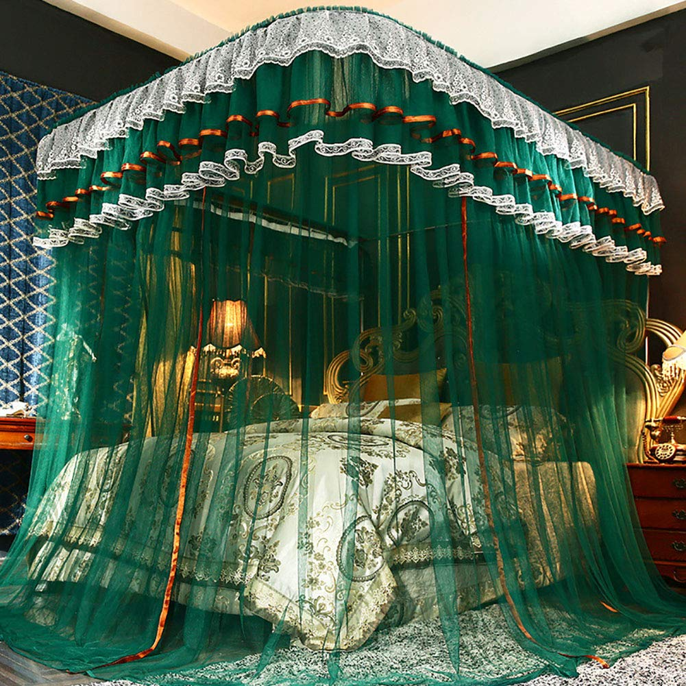 360° Protection Mosquito Nets Bed Canopy Lace Side Princess Net Tent U-Guide Easy Installation Anti-Mosquito Home Decorative,Green,150200CM
