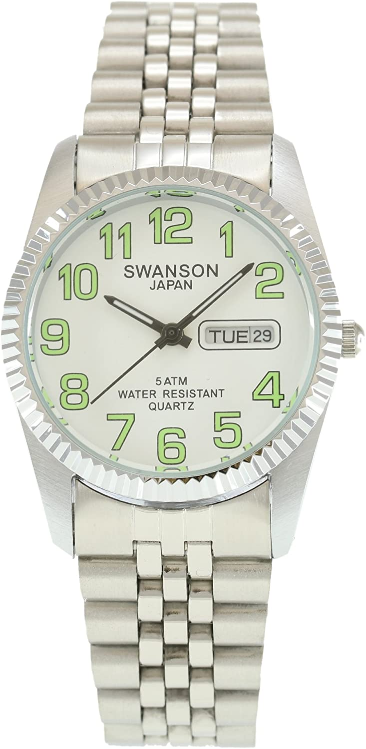 Swanson Men s Stainless Steel Day-Date Watch White Dial with Luminescent Large Numbers