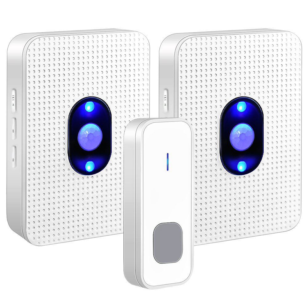 Wireless Doorbell Waterproof Door Bell Chime Kit Operating at 1000ft with 1 Push Button Transmitter and 2 Plug-in Receivers,55 Melodies,5 Level Volume,Night Light and LED Indicator for Home Office