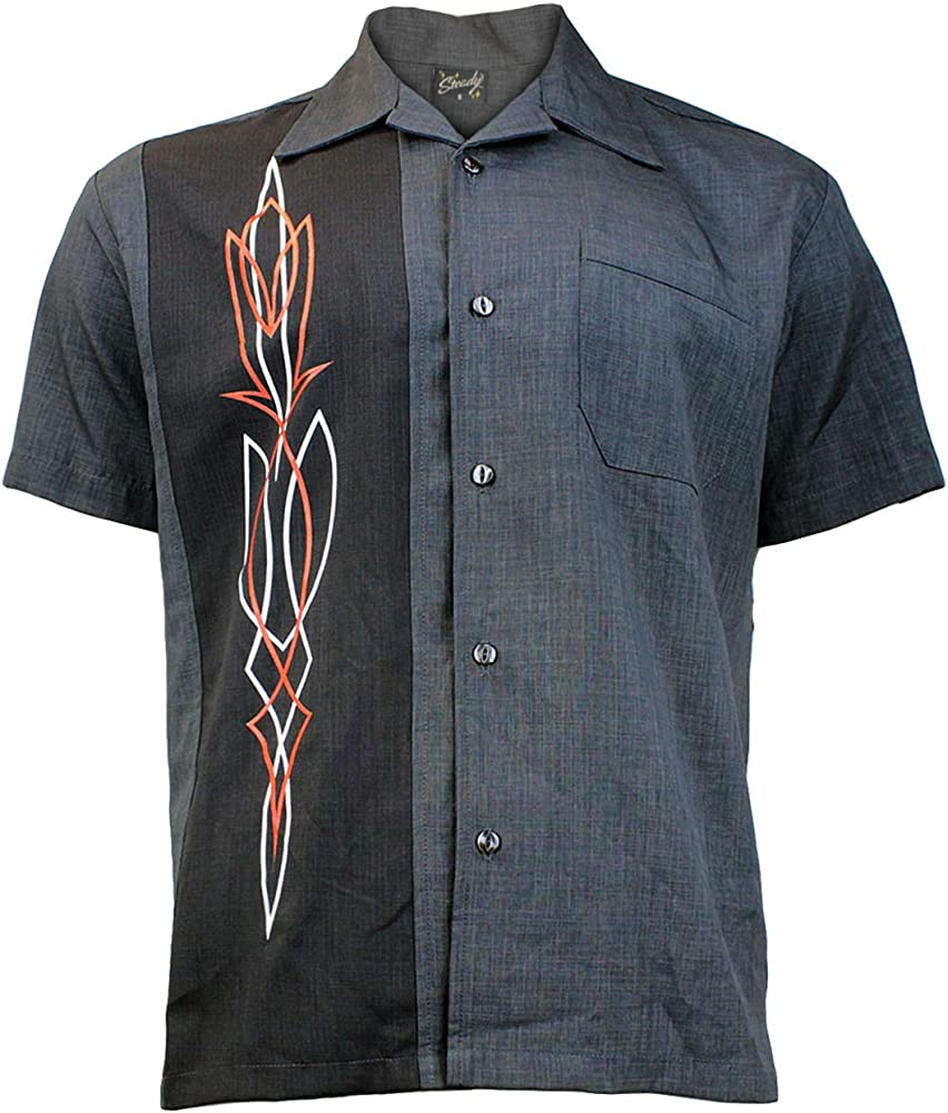 Steady Clothing Hombre Vintage Bowling camisa – Hot Rod Pinstripe gris Retro Bolos Camiseta gris Small: Amazon.es: Ropa y accesorios