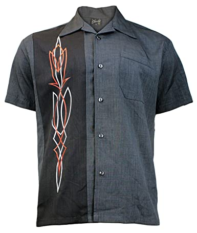 Steady Clothing Hombre Vintage Bowling camisa – Hot Rod Pinstripe gris Retro Bolos Camiseta gris Small: Amazon.es: Ropa y accesorios