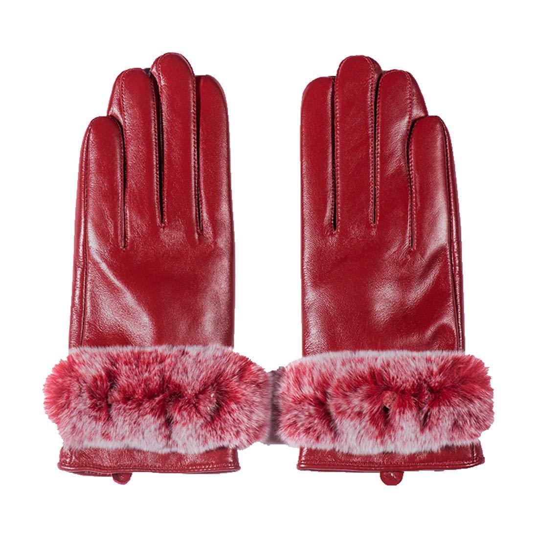 BYMHH Lederhandschuhe Herbst und Winter Schaffell Handschuhe, rot, XL