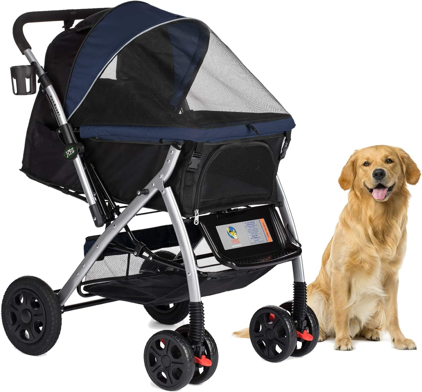 HPZ Pet Rover Premium Heavy Duty Dog Cat Pet Stroller Travel Carriage with Convertible Compartment Zipperless Entry Reversible Handlebar Pump-Free Rubber Tires for Small, Medium, Large Pets