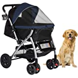 HPZ Pet Rover Premium Heavy Duty Dog/Cat/Pet Stroller Travel Carriage with Convertible Compartment/Zipperless Entry…