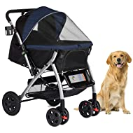 HPZ Pet Rover Premium Heavy Duty Dog/Cat/Pet Stroller Travel Carriage with Convertible Compartment/Zipperless Entry/Reversible Handlebar/Pump-Free Rubber Tires for Small, Medium, Large Pets