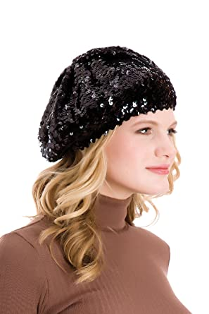 Ex Highstreet Black Sequin French Style Beret Beanie Hat  Amazon.co ... 02431b6d9aa
