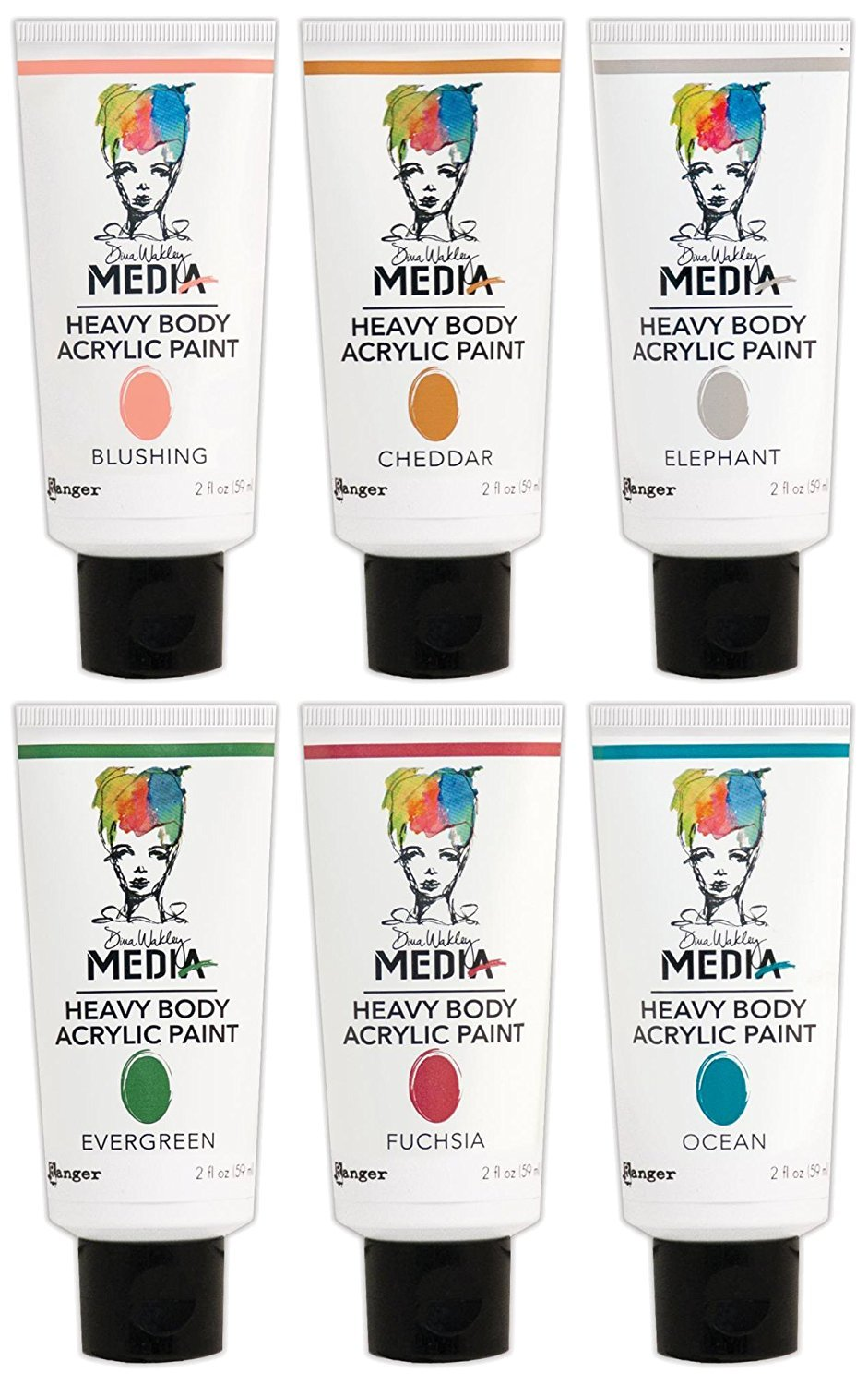 Dina Wakley Media Ranger Heavy Body Acrylic Paints - 2016 New Colors Bundle by Dina Wakley Media