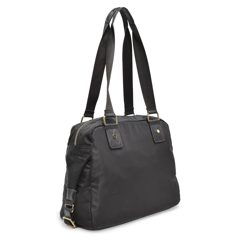 1c84dd93cf58 Amazon.com  Adrienne Vittadini PU Handbag With Two front Zip Pockets and  Interior Organizer (BLACK)  Shoes