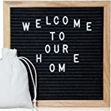 Letter Board - 10'' x 10'' Black Felt Letter Boards with 290 Letters, Changeable Letter Board Oak Wood Frame with Mounting Hook and Canvas Bag VAG021