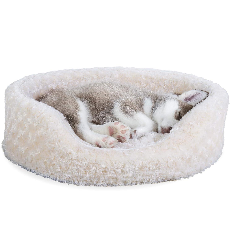 Cream Medium Cream Medium Furhaven Pet Products Ultra Plush Oval Pet Bed, Cream, Medium, 23x18x5.5-Inch