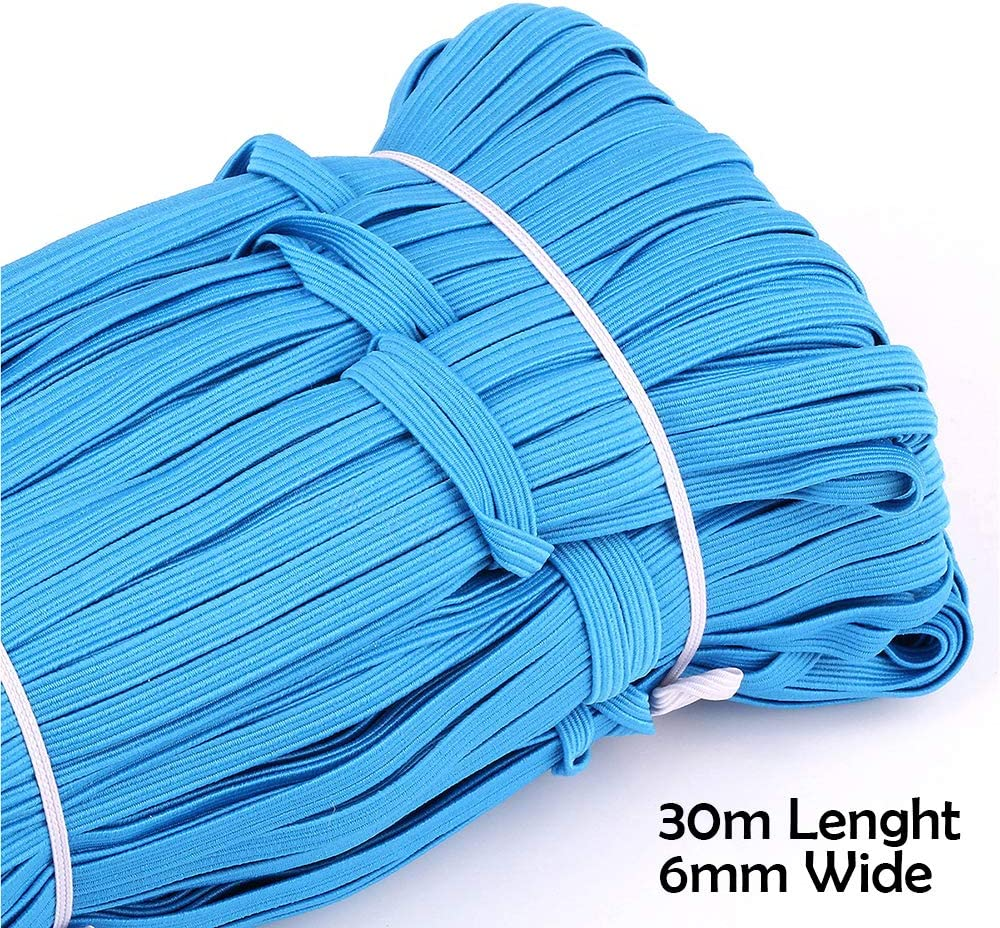 Heflashor 1//4 32.8Yards Elastic Cord Earloop for Face Cover Elastic Loop Ear Rope Stretch Flat String Craft Project Bracelet String Trim for Crafting Hanging Making