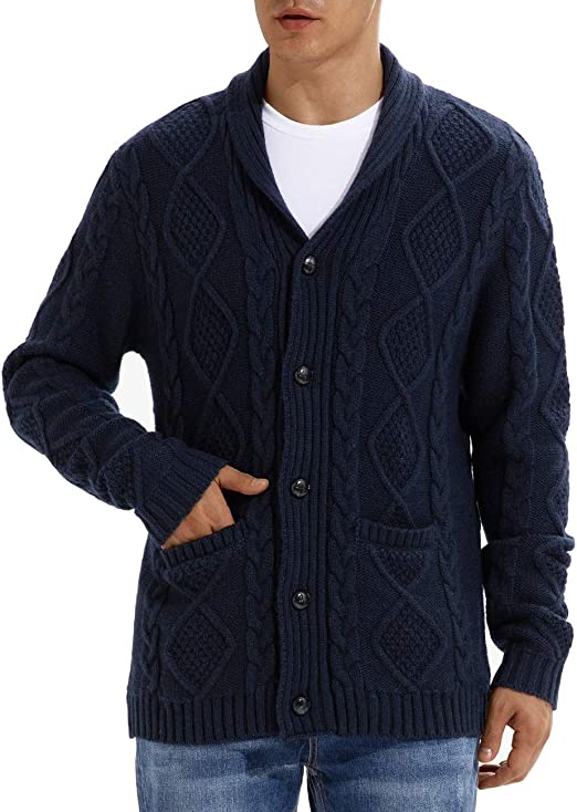 QUALFORT Men's Navy Wool Cardigan Sweater Button Down Knitted Sweater with Pockets