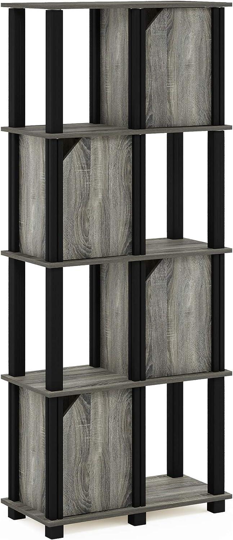 FURINNO Brahms 5-Tier Storage Shelf, French Oak Grey/Black