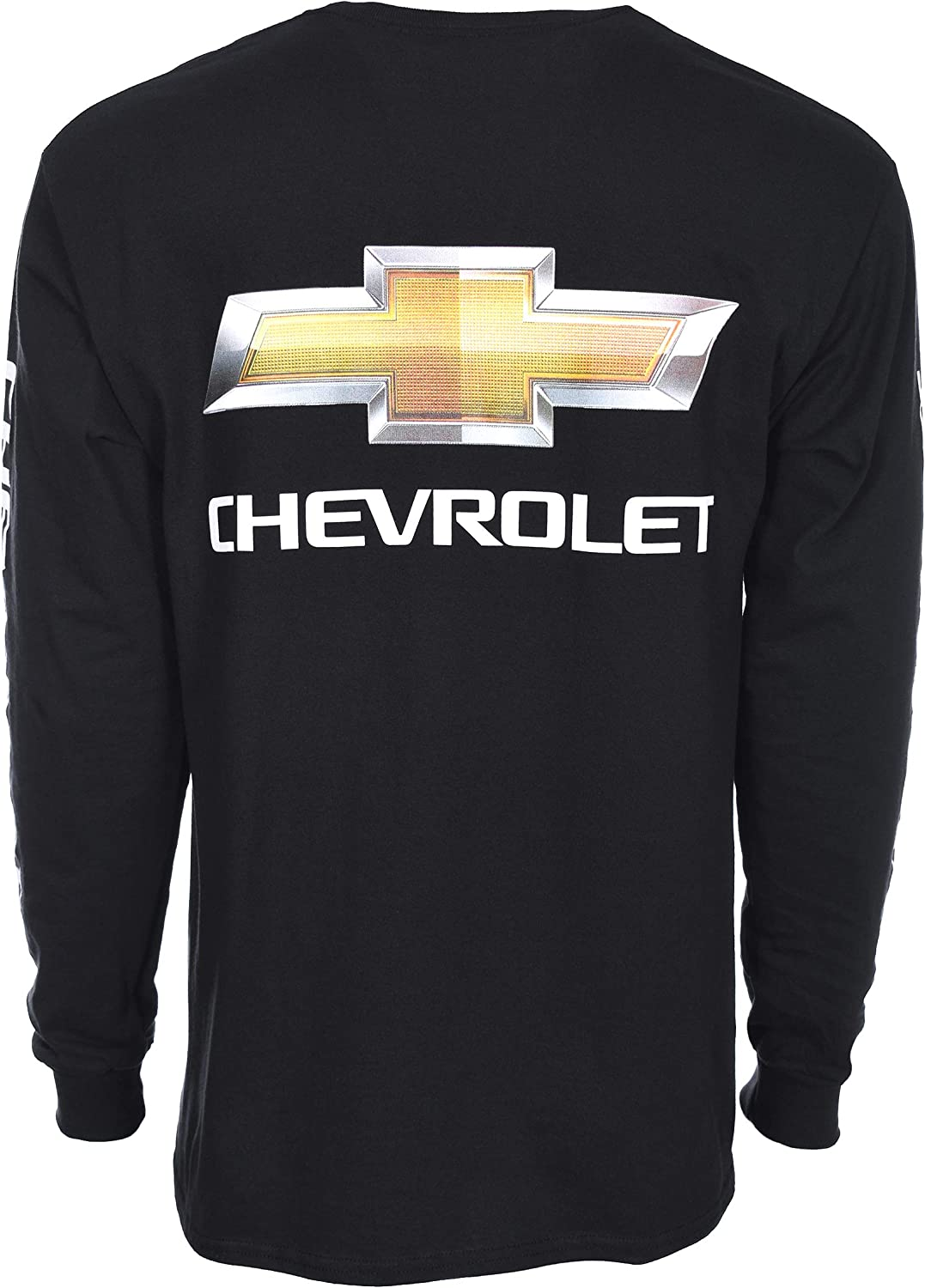 JH DESIGN GROUP Mens Chevy Bow Tie Long Sleeve Crew Neck T-Shirt Front Back /& Sleeve Emblems