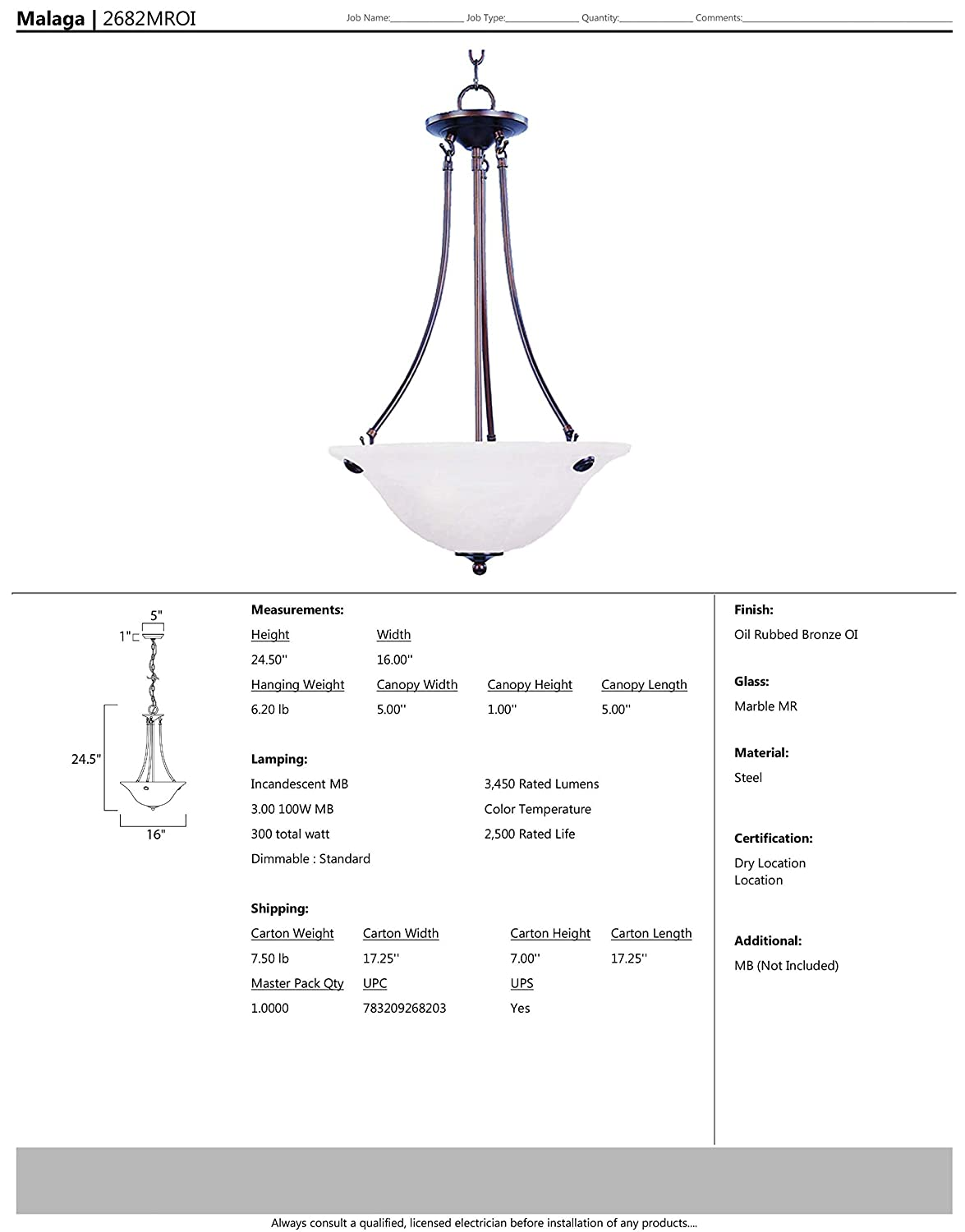Marble Glass Satin Nickel Finish 1150 Rated Lumens Maxim Lighting MB Incandescent Incandescent Bulb Onyx Shade Material Damp Safety Rating 100W Max. Standard Dimmable Maxim 2682MRSN Malaga 3-Light Invert Bowl Pendant