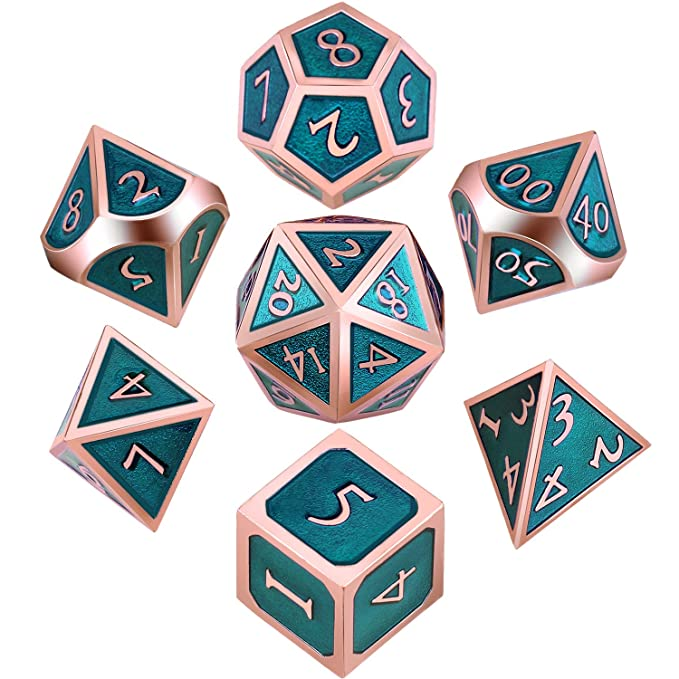 Hestya 7 Pieces Metal Dices Set DND Game Polyhedral Solid Metal D&D Dice  Set with Storage Bag and Zinc Alloy with Enamel for Role Playing Game