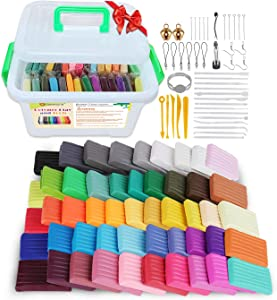 Polymer Clay Kit with Tools, Genround Polymer Clay Tools and Supplies, 50 Blocks Oven-Bake Clay, 19 Polymer Clay Tools, 25 Clay Modeling Tool Accessories, Non-Stick, Non-Toxic, Basic Starter Kit