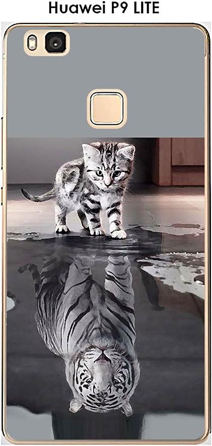 Onozo Carcasa Huawei P9 Lite Design Gato Tigre Blanco: Amazon.es ...