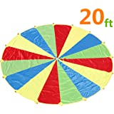 Parachute,Sonyabecca Play Parachute 20ft with 16 Handles for Kids Cooperation Group Play