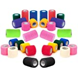 "4"" Vet Tape Wrap Bulk, Self Adherent Wrap Tape, Self Adhering Stick Bandage, Self Grip Roll - Black, Blue, Brown, Fuchsia, Hunter Green, Neon Green, Neon Pink, Purple, Red, Teal, White, or Assorted Colors (4"" inches Wide x 15' Feet Long) - (6 Rolls, 12 Rolls, 18 Rolls, or 24 Rolls)"