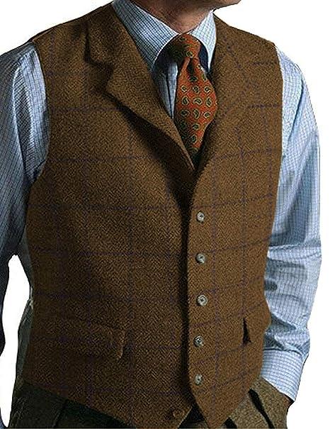 51573e6ba4e Pretygirl Men s Wool Herringbone Groom Vests Groom s Suit Vest Tweed  Business Suit Jacket at Amazon Men s Clothing store