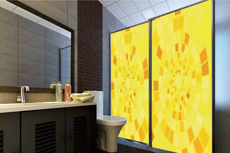Horrisophie dodo 接着剤不要 静電気でくっつくガラスステッカー イエロー ゴールデンテクスチャー ドットと星 クリスマス イルミネーション装飾装飾 オレンジ 高さ35.43インチ×幅23.62インチ 自宅&オフィス用 70.86