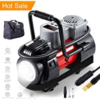 NoOne Air Compressor Tire Inflator,Heavy Duty 12V DC Portable Car Tire Pump Guage With Emergency Led Light for Car/Bicycle/Motorcycle/Ball/Air Matresses 180W 120PSI