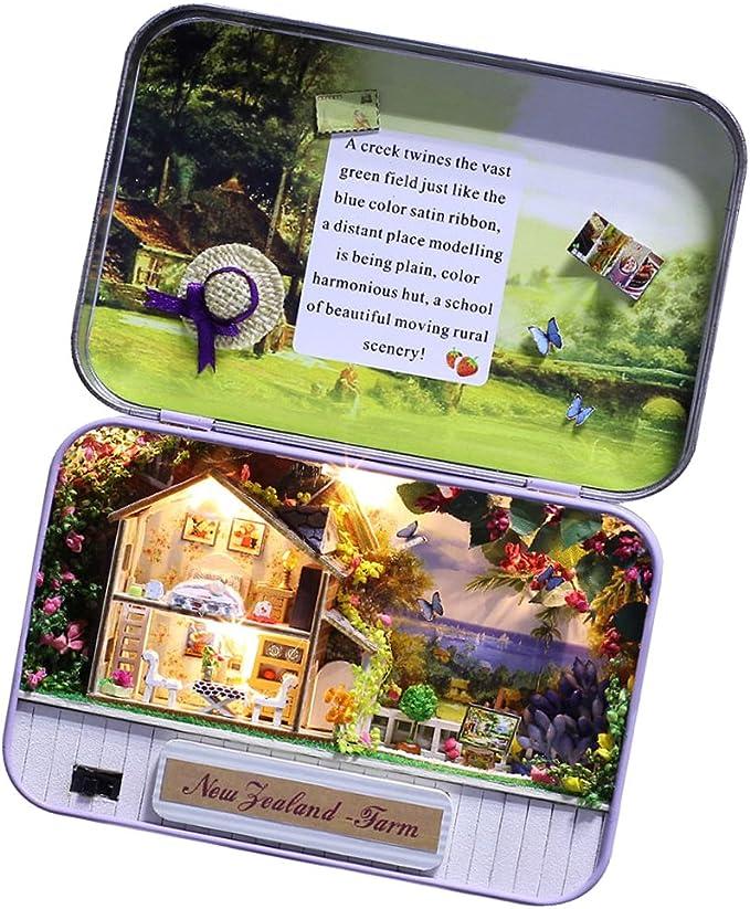 Amazon.es: non-brand Jugeute de Montaje Modelo de Caja de Lata de Dollhouse en Miniatura con Luces LED - F: Juguetes y juegos