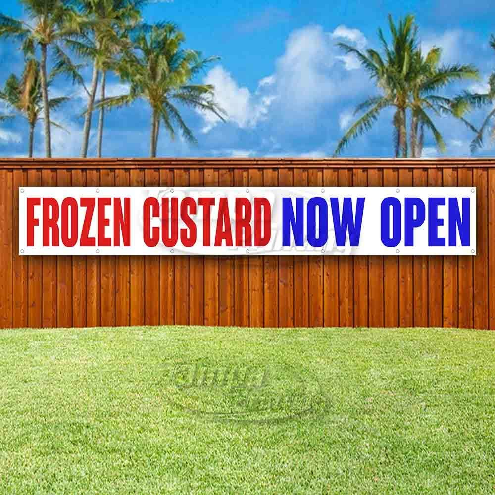 New Flag, Advertising Store Many Sizes Available Frozen Custard Now Open Extra Large 13 oz Heavy Duty Vinyl Banner Sign with Metal Grommets