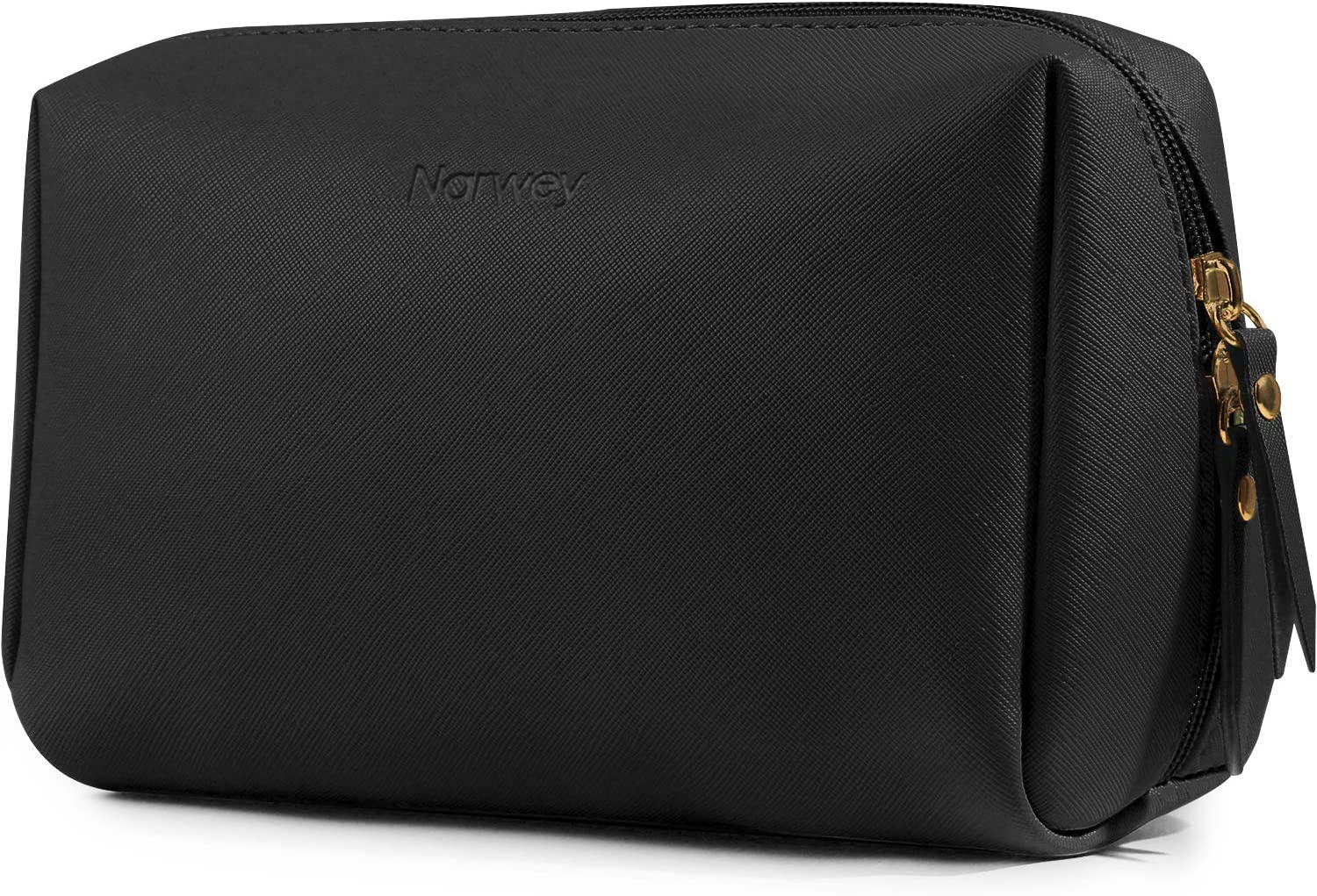 Large Vegan Leather Makeup Bag Zipper Pouch Travel Cosmetic Organizer for Women and Girls (Large, Black)