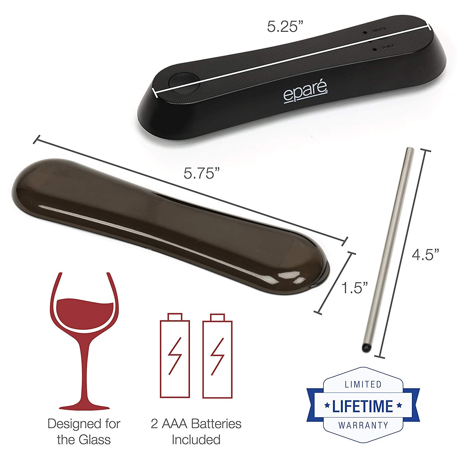 Best Electric Wine Accessories eparé EPWE02 Modes For Red White Port Wine Lovers Travel Wand Decanter Epar/é Pocket Wine Aerator
