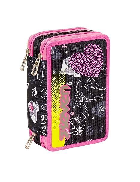 1bf9eddc22 ASTUCCIO scuola SEVEN - HEART GIRL - 3 scomparti - pennarelli matite gomma  ecc.