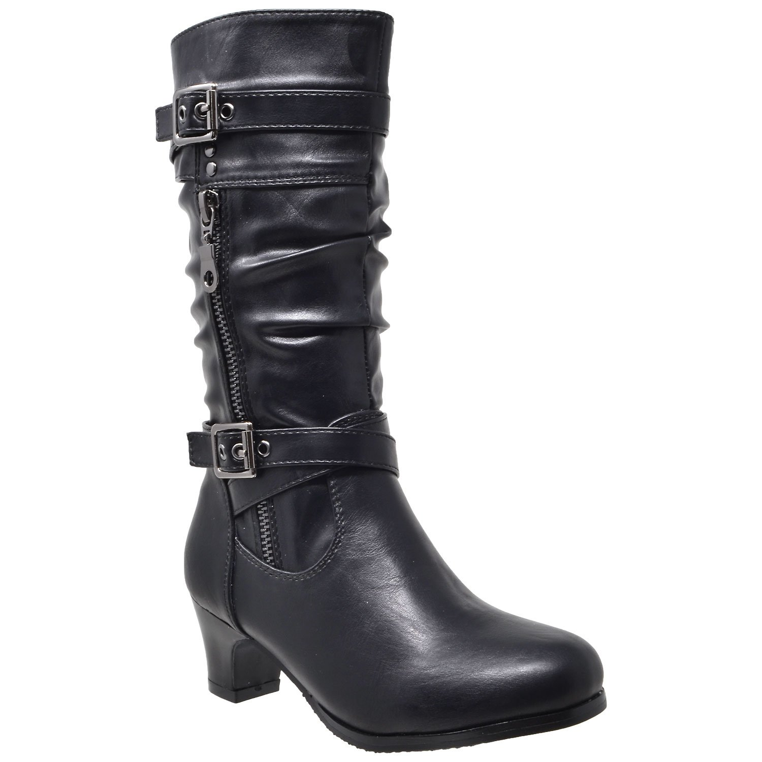 Generation Y Kids Girls Knee High Boots Ruched Faux Leather Strappy Buckle Zip Accent Low Heel Shoes Black SZ 12 Toddler