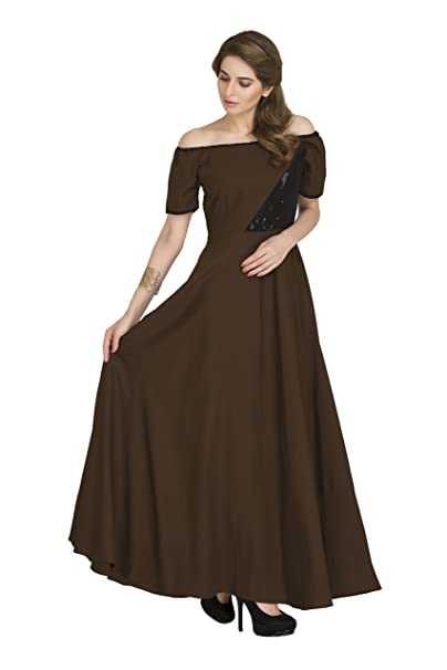 9d4f9f7cba90 Raas Prêt Women s Crepe Flared Maxi Gown (XS - Bust - 32   Brown