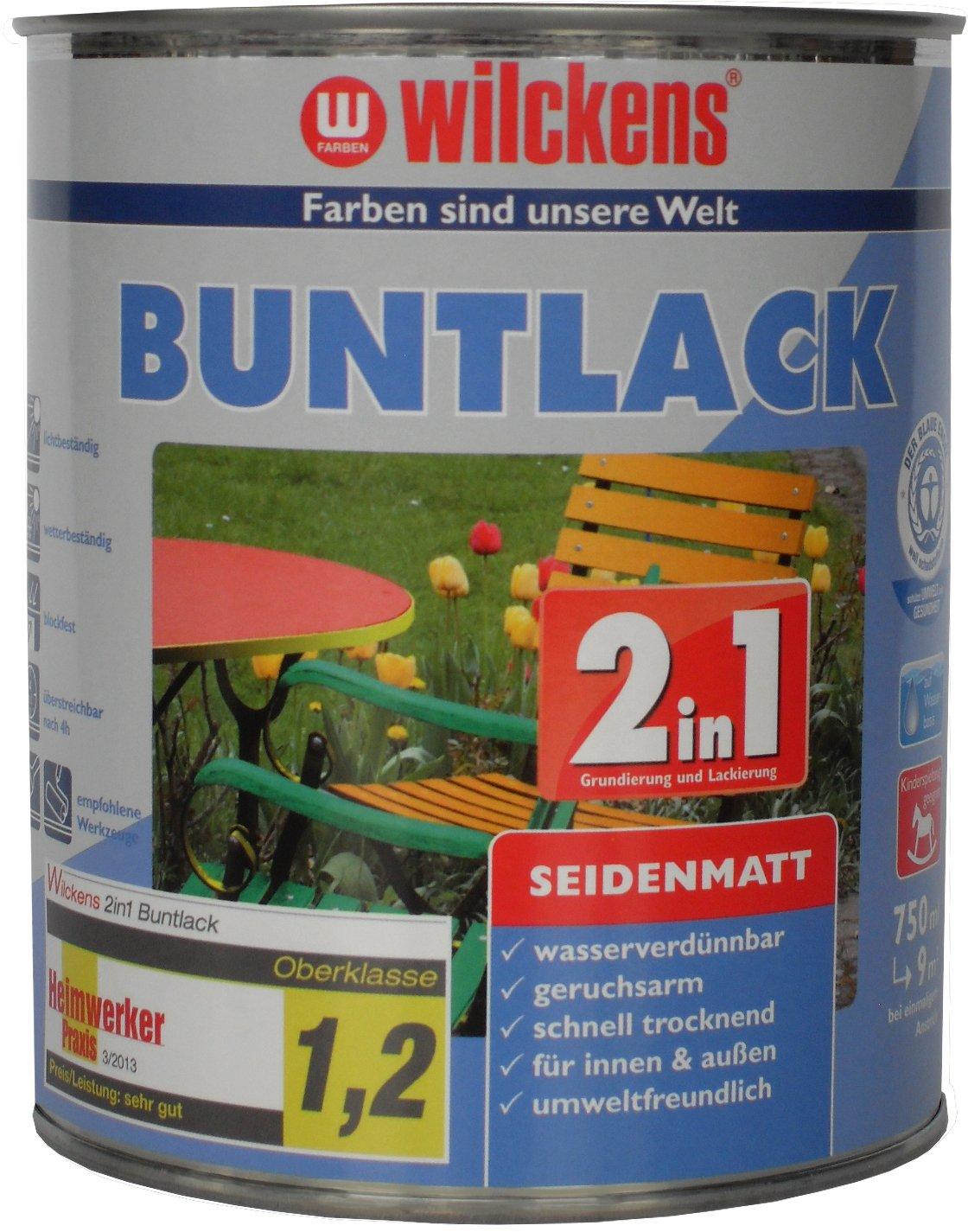Wilckens 2in1 Buntlack seidenmatt, RAL 9005 tiefschwarz, 750 ml 12490500050