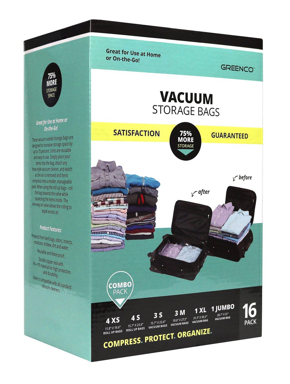 Amazon.com: Greenco 16 Pack Space Saver Vacuum Seal Storage Bags ...