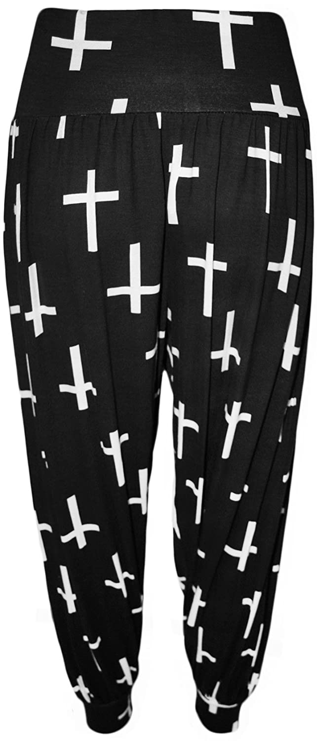 WearAll Womens Plus Size Printed Pattern Long Harem Pants Trousers 51421
