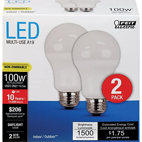 FEIT ELECTRIC A1600/850/10KLED/2 Feit 100W Equivalent A19 Daylight  Non-Dimmable LED Light Bulb 2 Bulb Pack