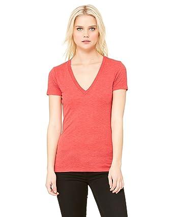 fef583da8dcf Amazon.com: Bella Canvas 8435 - Ladies' Triblend Deep V-Neck T-Shirt ...