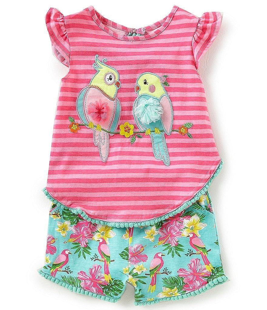 3m-4t 2t Rare Editions Girls Bird Parakeet Tropical Shorts Set