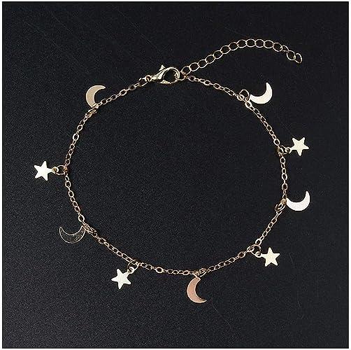 Solid Gold Star Bracelet Crescent Bracelet with Stars Moon Star Bracelet Crescent Moon Bracelet Dainty