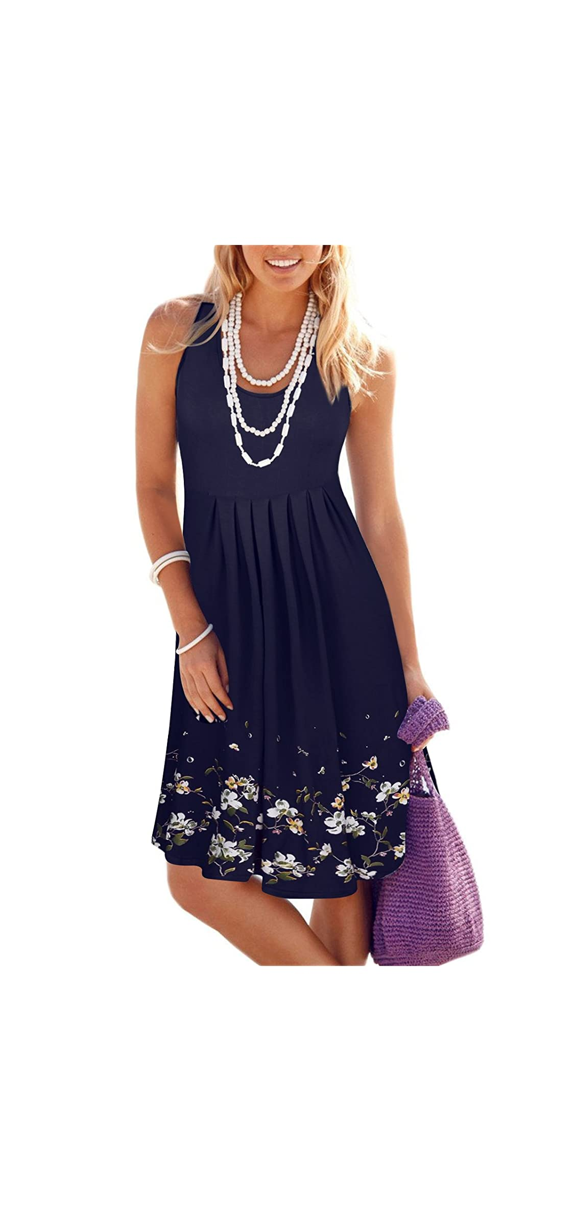 Women Summer Casual Dress Loose Print Pleated Sleeveless