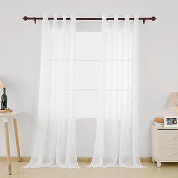 Amazon.de: Deconovo 2er Set Vorhang Transparent Gardinen Wohnzimmer ...