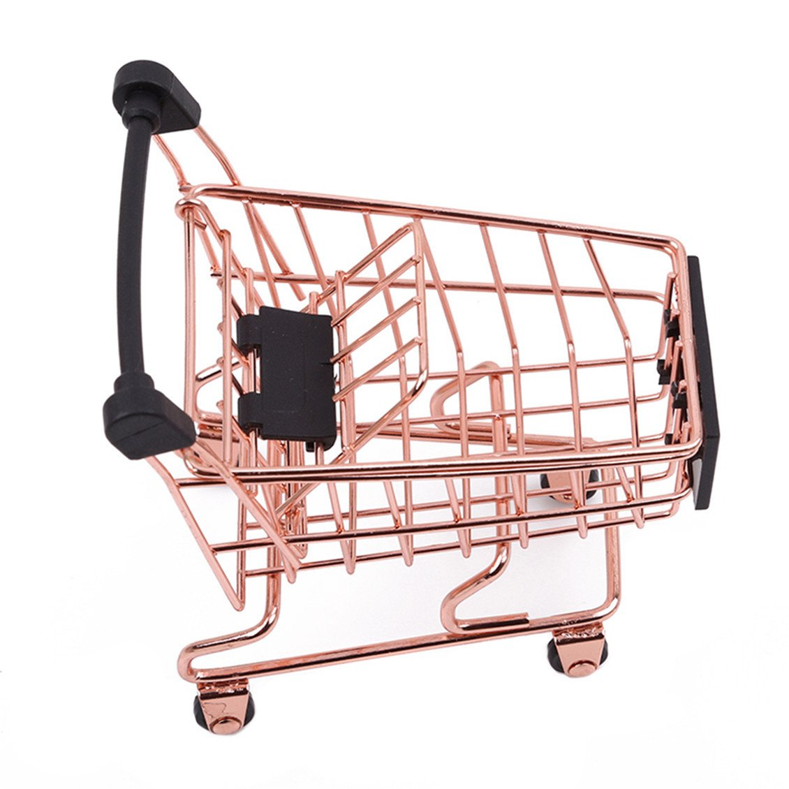 Dolland Mini Shopping Cart Supermarket Handcart Shopping Utility Cart Storage Toy Basket Desk Pen Holder,S-Rose Gold by Dolland (Image #2)