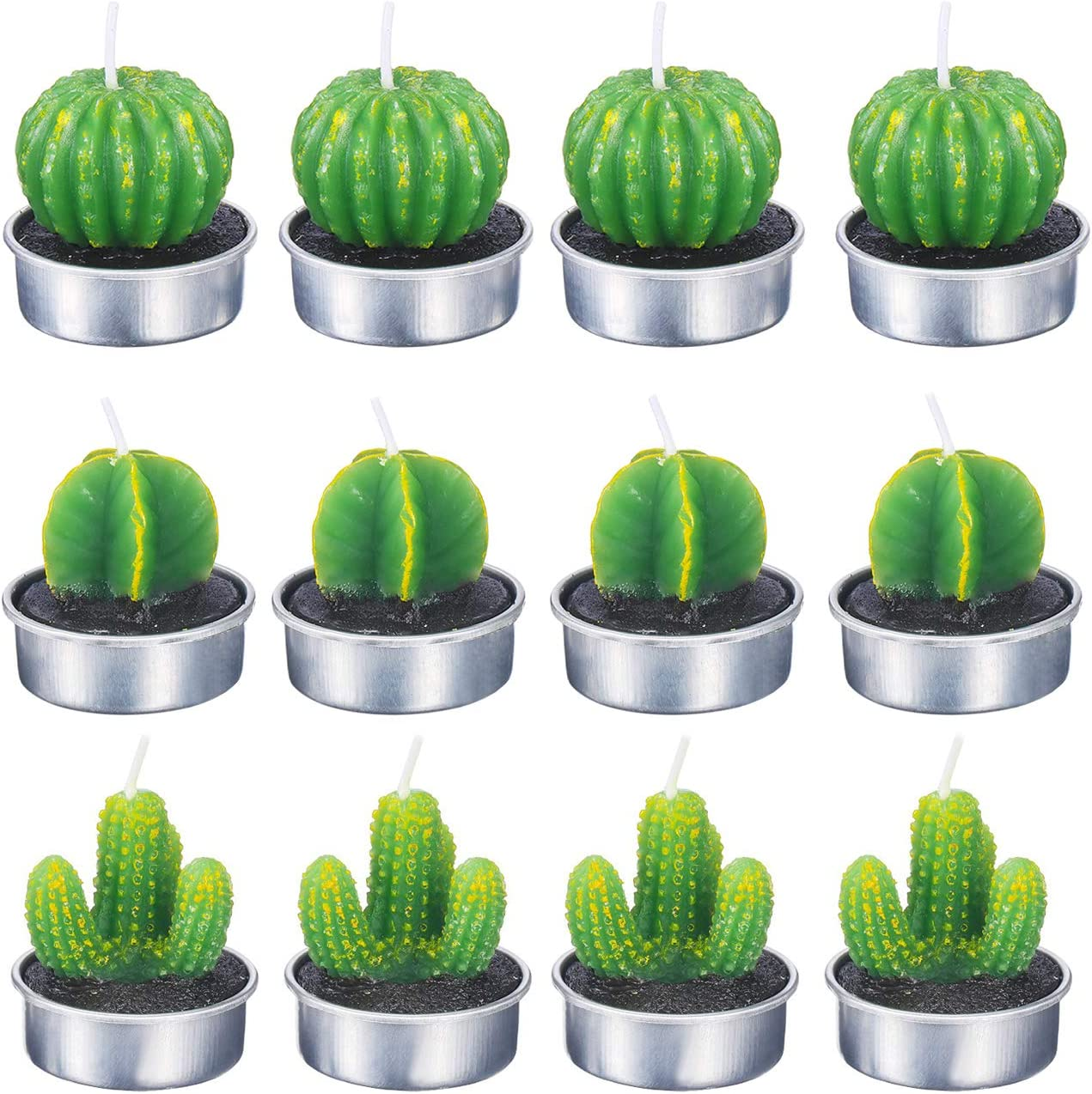Sunnyglade 12PCS Cactus Tea Lights Candles Handmade Delicate Succulent for Home,Party, Festival,Birthday,Wedding Decor