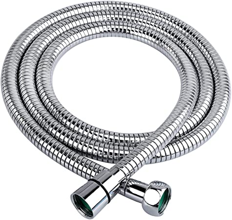 Polished Chrome HOMEIDEAS Flexible Shower Hose Stretch 59-Inch to 79-Inch Stainless Steel Extra Long Shower Hose Replacement Handheld Shower Head Hose Extension