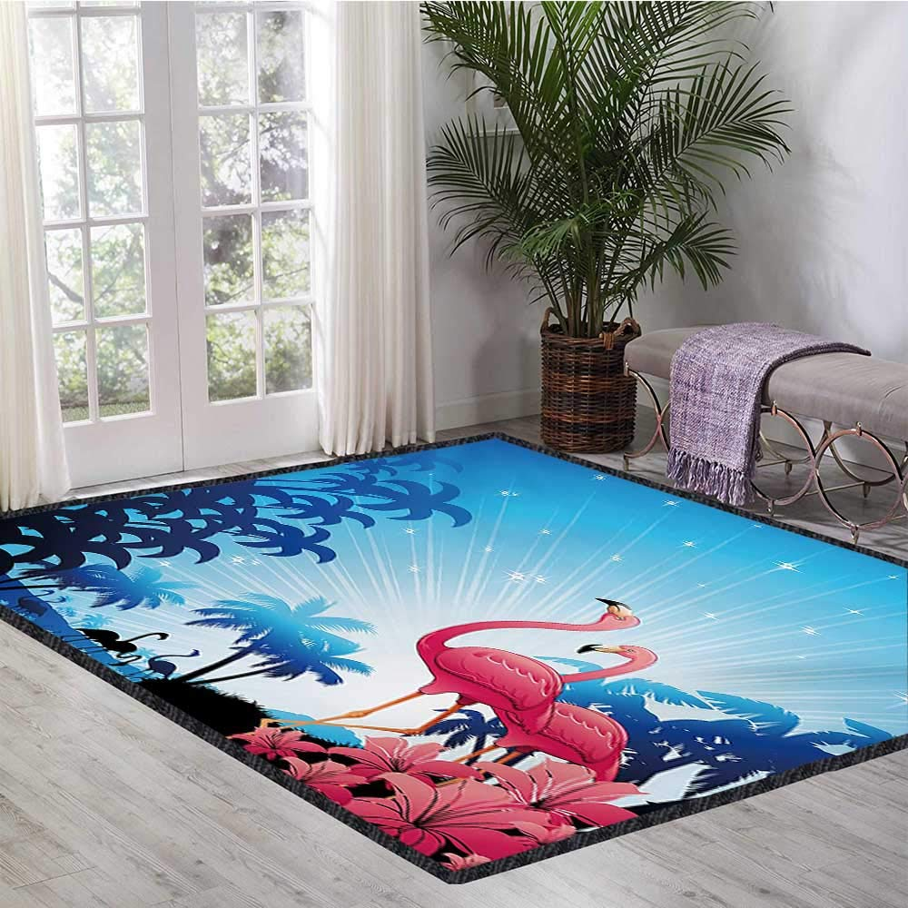 Tropical, Kids Carpet Playmat Rug, Nature Scene Exotic Flowers and Palm Tree Silhouettes and Flamingos Wildlife, Bath Mat for tub Bathroom Mat 5.8x6.6 Ft Pink Blue White
