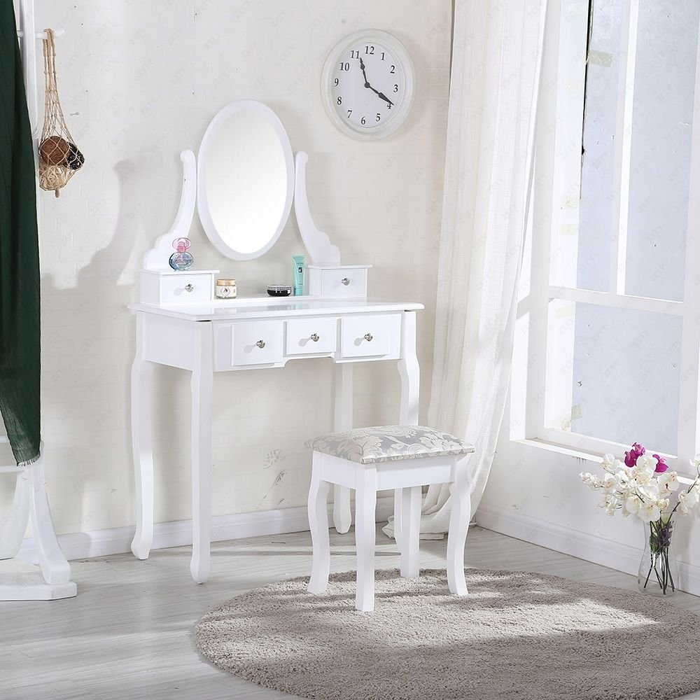 PEONY WHITE DRESSING TABLE SET WITH ADJUSTABLE OVAL MIRROR AND STOOL, 5  DRAWERS SHABBY CHIC,VANITY BEDROOM DRESSER: Amazon.co.uk: Kitchen U0026 Home